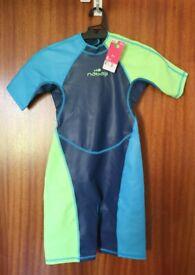 NABAIJI Boys' Kloupi Shorty Swimsuit - Blue/Green (for child aged 8)