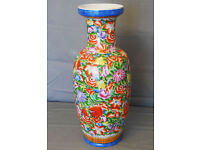 LARGE FLOOR STANDING CHINESE CERAMIC VASE FLORAL PATTERN