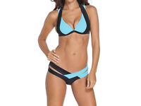 Black & Blue Push up Bikini Swimwear Swimsuit size 14 NEW