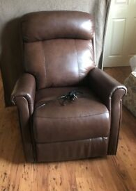 Brown Leather Electric Recliner (pristine - 1 month used) Smoke free home