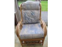 BAMBOO CONSERVATORY ARMCHAIR blue cushions