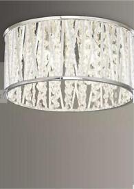 John Lewis & Partners New Emilia Crystal Drum Flush Ceiling Light, Silver