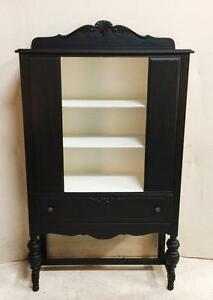 Vintage Black China Cabinet with White Interior with 3 Shelves, Single Drawer and Stretcher Base