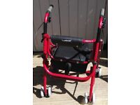 UNISCAN RED LIGHTWEIGHT 4 WHEELED ALUMINIUM ROLLATOR MOBILITY WALKING AID WITH SEAT