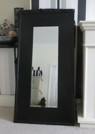 FULL SIZE LARGE BLACK FRAMED MIRRORS X2. CAN BE SOLD SEPERATELY. GOOD CONDITION.