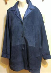 XL DANIER Blue Suede Spring & Fall Jacket / Reversible to Raincoat / Made in Canada / Supersoft Napa