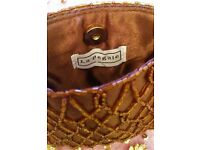 NEW LA REGALE Designer Chocolate Brown Satin Bead Small Evening Purse Handbag Small Clutch Bag PROM
