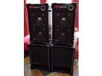 """PAIR OF HH DOUBLE 12"""" MID TOPS WITH HORNS & PAIR OF MATCHING 15"""" BASS BINS, SUPER SOUND!!"""