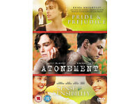 PRIDE & PREJUDICE / ATONEMENT / SENSE & SENSIBILTY 3dvd Steelbook metal case edition