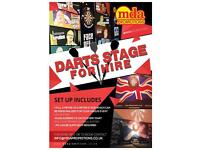 Darts stage set, full sound system and MC hire