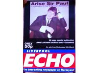 Arise Sir Paul McCartney (Beatles) Special Liverpool Echo Newsagent Advertising Poster