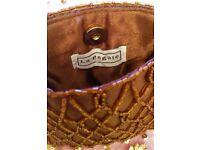 NEW Designer LA REGALE Chocolate Brown Satin Beaded Small Evening Purse/Handbag/Clutch Bag Christmas