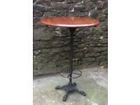 Stunning Antique Victorian Tall Cast Iron Base Round Table With Foot Rest