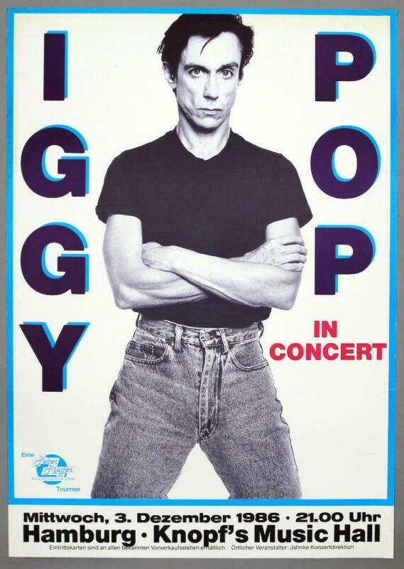 "IGGY POP - rare vintage original Hamburg 1988 ""BLAH-BLAH-BLAH"" concert poster"