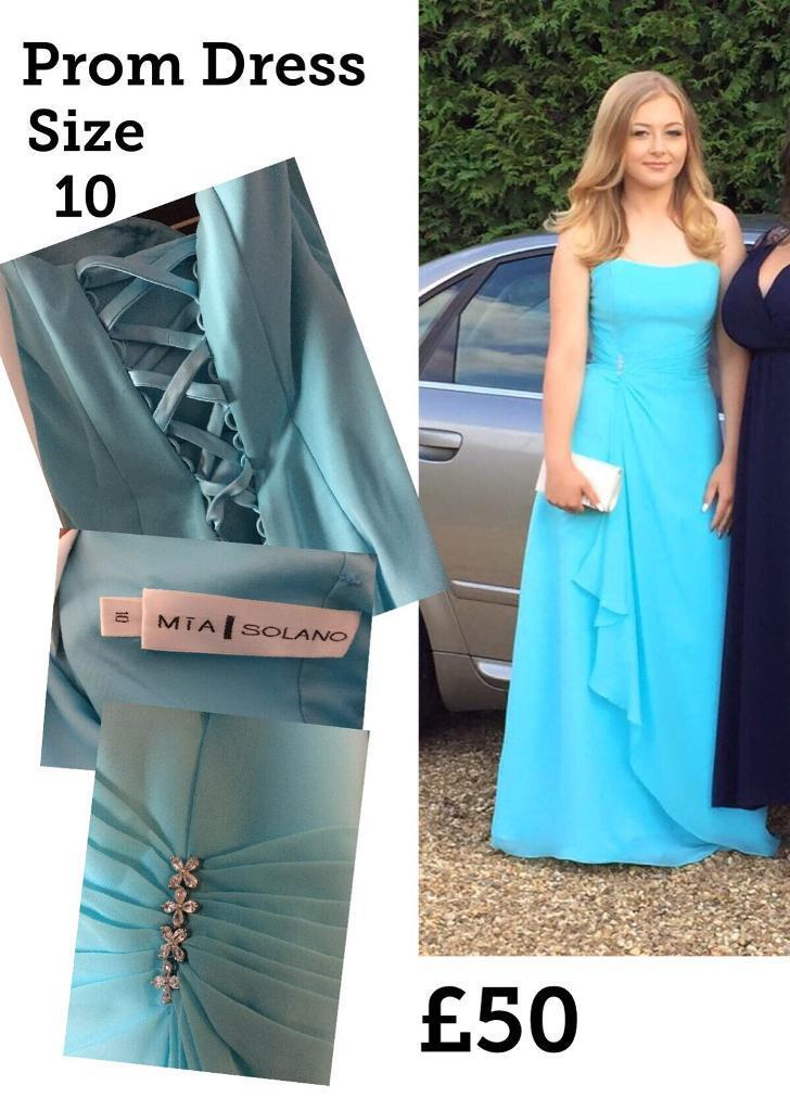 Prom dresses x2in Stevenage, HertfordshireGumtree - Prom dresses x 2 up for sale £50 Each Blue Mia Solano dress size 10 £50 worn once for my daughters prom. Tie up back not altered in any way. Nice gems in the front lives in and will come in its bridal protective bag. Has spaghetti straps too. Dzage...