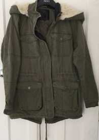 Ladies parka, khaki, size 12.