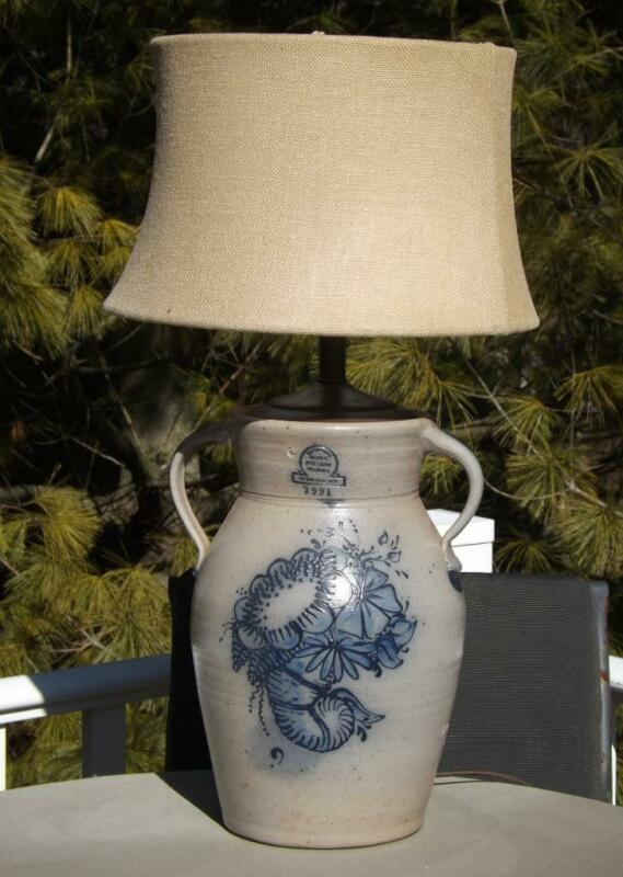 Rowe Pottery Works Floral Lamp Salt Glazed Cobalt Blue 2 Handle Jug 1991