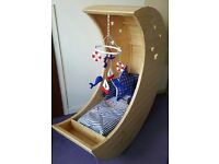 Unique handmade baby crib complete with brand new mattress none of the other bits pictures included