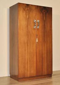 Attractive Large Vintage Art Deco Walnut Double Wardrobe Armoire