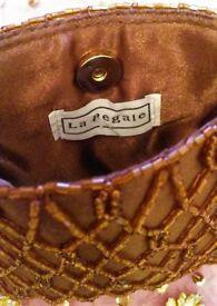 NEW Designer LA REGALE Chocolate Brown Satin Bead Small Evening Purse Handbag Small Clutch Bag PROM