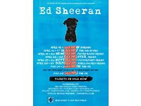 2 x Ed Sheeran seated tickets, Metro Radio Arena Newcastle, Wednesday 19th April 2017