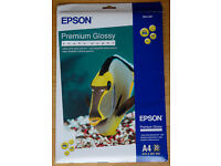 """Epson Premium Glossy inkjet photo paper (20 sheets A4 + 20 sheets 4""""x6"""") brand new unopened"""