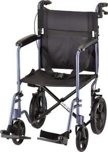 NEW NOVA Medical Products 330 Lightweight Transport Chair with Hand Brakes
