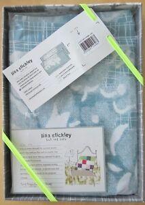 LISA STICKLEY Oxford Pillowcase Pair HANKIE FLOWER STONE BLUE New