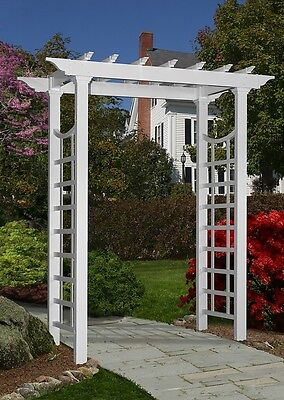 England Arbors Decorative Vinyl Westhaven Garden Patio Arch Trellis Lattice