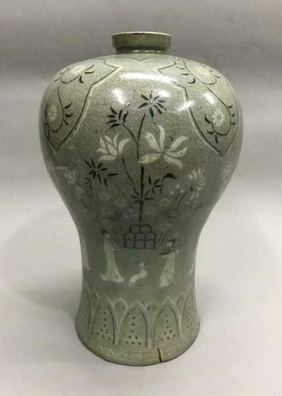 Korean Goryeo - Joseon Dynasty Inlaid Jar Flower Vase / H 34.5[cm]
