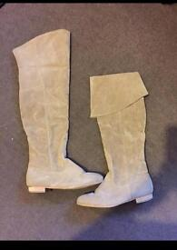 Suede thigh/knee boots beige color size 5