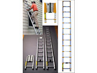 **BRAND NEW BOXED** 4.4m ALUMINIUM MULTI PURPOSE TELESCOPIC EXTENDABLE LADDER STABILISER HOME WORK