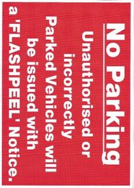 No Parking Sign with Hard to remove and easy to remove warning Stickers (5 each)