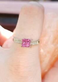 9ct White Gold Pink Sapphire 0.88ct & Diamond Ring 9K 375 Hallmarked