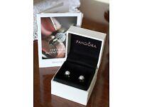 Sterling Silver PANDORA Cultured Freshwater Pearl Earrings/Studs
