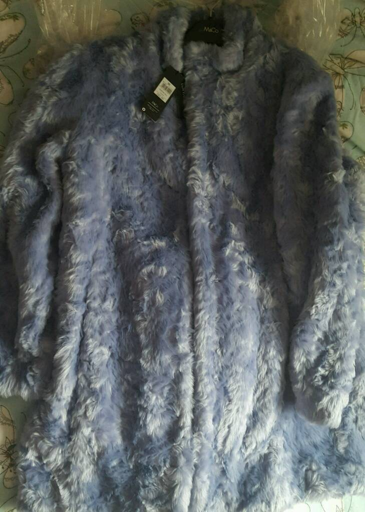 New baby blue fake fur coat size 20
