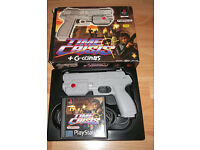 Playstation 1 and 2(G-Con 45 Gun With Time Crisis & Point Blank) (used pre-owned)