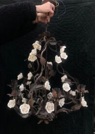 Chandelier, iron and porcelain rose 6 bulb 70 x 30cm