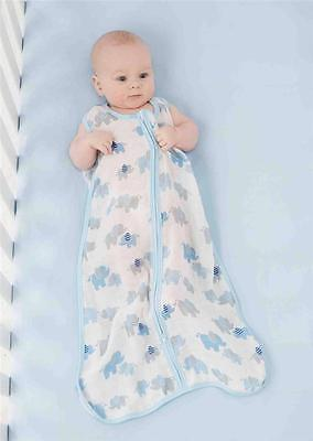 Mud Pie Blue Layette Baby Slumber Bamboo Sleeping Sack Bag Elephant 2142025 - Baby Boys Sleeping Bags