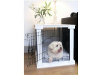 Dog crate, white wooden ccover