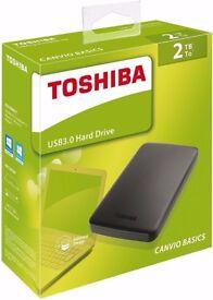 2TB Toshiba Canvio Basics 2 TB Portable External Hard Drive Disk 2.5 Inch USB 3.0 Black HDTB320EK3CA