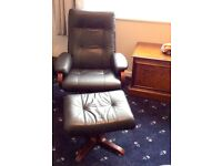 Beautiful Leather Chair and Foot Stool