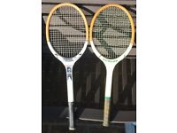 £30 Vintage Retro Dunlop Tennis Rackets Original Wooden Frame x 2 **Rare Dunlop Champion included