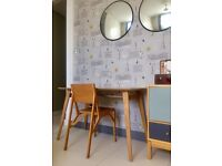Designer Birch Plywood with Oak Finish Table and Chair D 60cm x W 120cm x H 75cm