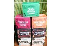 Four Sigmatic Mushroom Drinks including Chaga, Cordyceps, Reishi, Lion's Mane