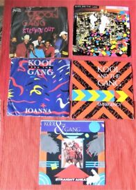 Nice Selection Of Five Vintage Kool And The Gang 7 Inch Vinyl Single Records.