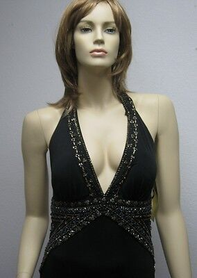 (Sue Wong black beaded evening dress gown long halter 10 Cocktail Gold Designer)