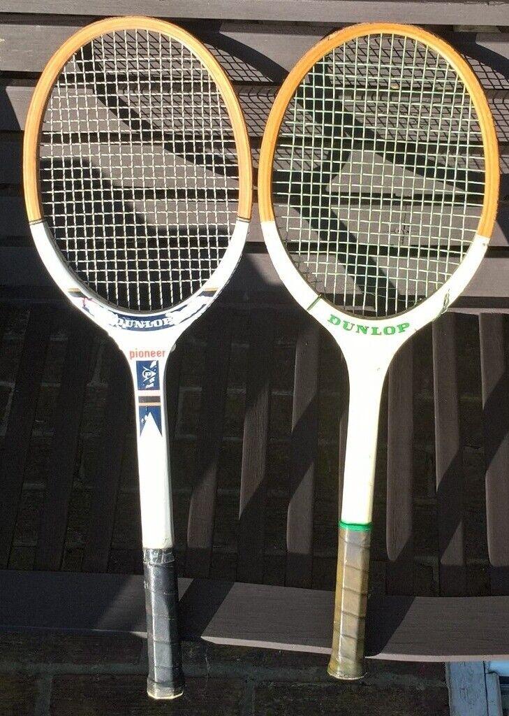 51361d0b737 DUNLOP Vintage Tennis Racquet Wooden Frames RARE Classic & Pioneer 1970s  1980s Retro Sports