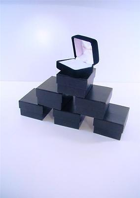Lot Of 6 Earring Deluxe Black Velvet Satin Lined Fine Jewelry Presentation Box