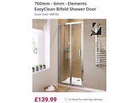 Bifold shower door, silver/chrome. 1850x760